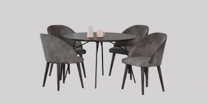 Set of 4 Cairo, dining chair & Miles, round dining table